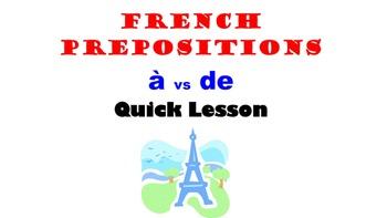 French Prepositions A vs DE (vocab lists, usage comparison