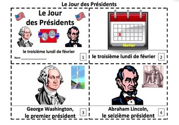 French Presidents' Day Emergent Reader Booklets - Jour des
