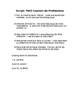 French Profession Quiz Script