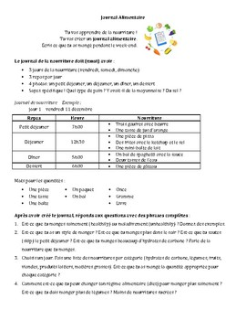 French - Project - Food Diary