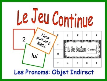 French Pronoun Activity for Groups: Indirect Object Pronouns