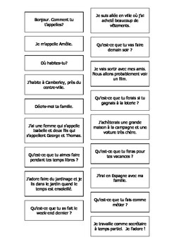 French Question & Answer Matching Cards (General) Teaching