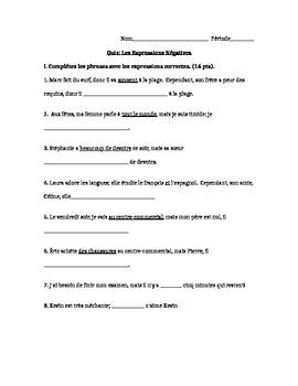 French Quiz- Les Expressions Négatives