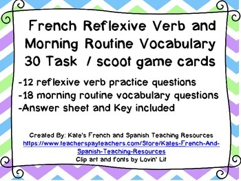 French Reflexive Verb /Morning Routine Vocabulary Task/ Sc