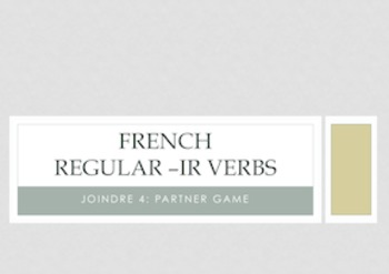 French Regular -IR Verbs : Connect 4 partner game