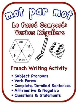 French Passé Composé Writing Activities; Regular Verbs (6