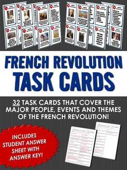 French Revolution - 32 French Revolution Task Cards with A