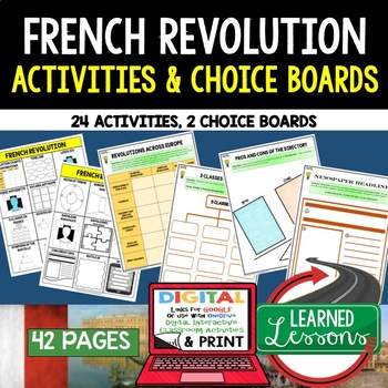 French Revolution Choice Board Activities (Paper and Googl
