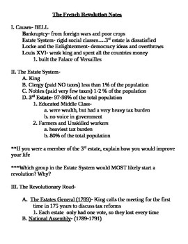 Global 2: French Revolution Notes