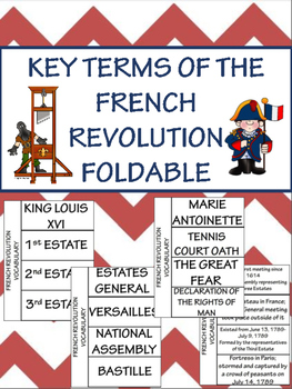 French Revolution Vocabulary Foldable- 24 terms; Review Po