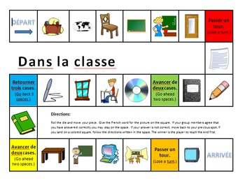 French School / Classroom Object Board Game
