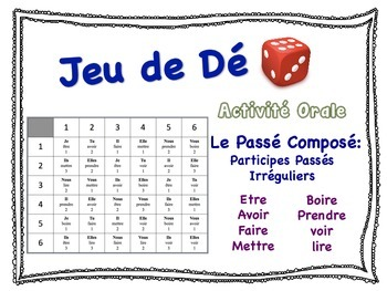 French Passé Composé (Irreg Past Part) Speaking Activity f