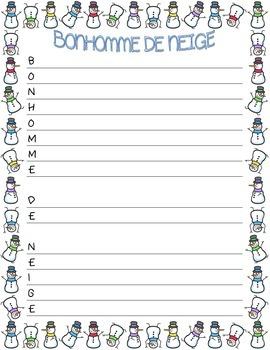 """French ~ """"Snowman"""" Acrostic Poem ~ """"Bonhomme De Neige""""  Po"""