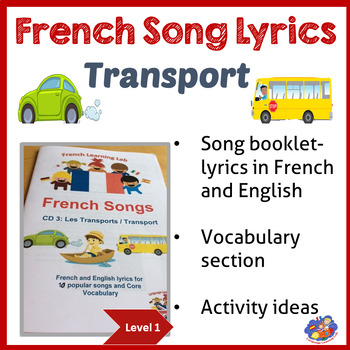 French Song booklet - Transport - Lyrics in French/ English