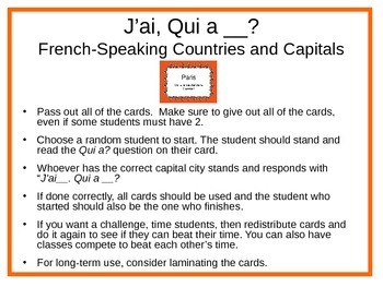 French-Speaking Countries and Capitals: J'ai __. Qui a __?