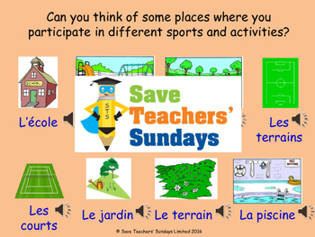 French Sports - days and venues Lesson plan, PowerPoint (w