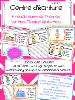 French Summer Activities- été writing centre activities