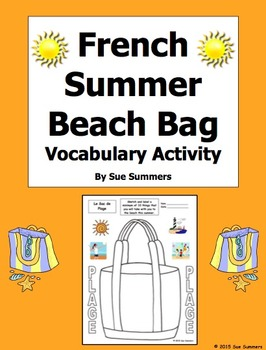 French Summer Beach Bag Sketch and Label Vocabulary Activity