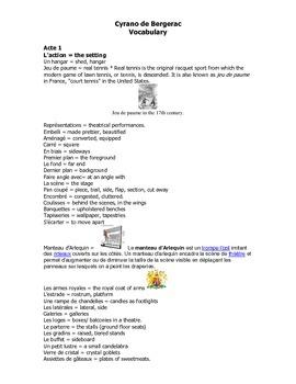 French Teaching Resources. Cyrano De Bergerac Vocabulary Booklet.