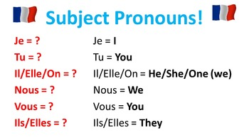 French Teaching Resources.Present Tense PowerPoint, Matchi