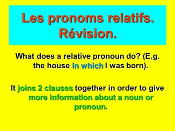French Teaching Resources. Relative Pronouns.