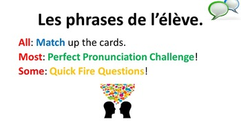 French Teaching Resources. Student Classroom Phrases Match