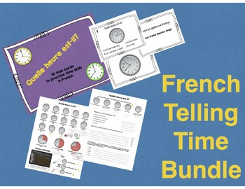 French Telling Time Bundle - Reference Sheet, Practice She