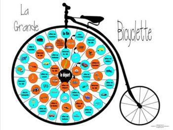 French Transportation Vocabulary La Grande Bicyclette Game Board