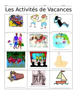 French Vacation Activities Vocabulary Notes