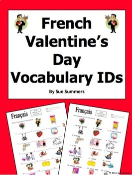 French Valentine's Day Vocabulary IDs Worksheet - Jour de