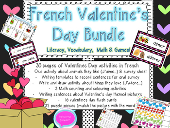 Saint Valentin - French Valentine's Bundle- Vocabulary, Ma