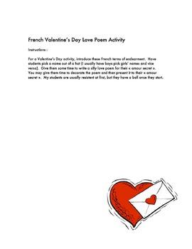 French Valentine's Day Love Poem Activity (Activité pour l
