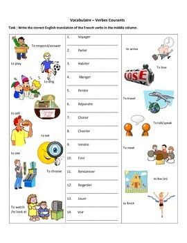 French Verb Bingo with Vocabulary Sheet