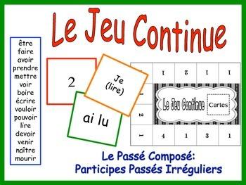 French Passé Composé, Irregular Past Participles Activy fo