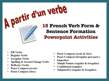 French Verb Form and Sentence Writing Powerpoint Activitie