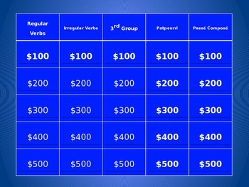 French Verb Review 2 - Jeopardy style