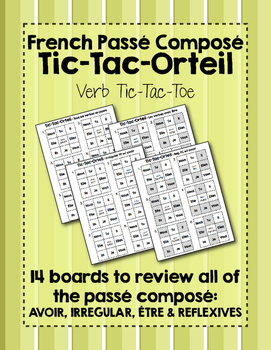 French Verb Tic-Tac-Orteil (Tic-Tac-Toe) Game BUNDLE for t
