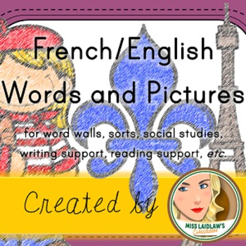 French Vocabulary Words with English Translations and Clipart