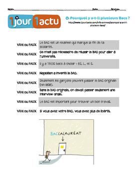 French Vrai/Faux questions about 1jour1actu.com video abou