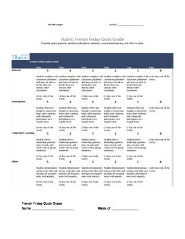French Weekly Participation Rubric & Self Score Sheet