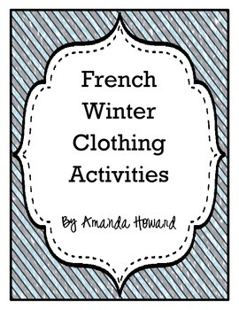 French Winter Clothing Activities FLES