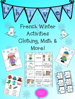 French Winter Bundle- Winter Vocabulary + Clothing + Math & Games