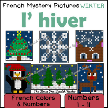 French Winter Mystery Pictures! Color By Number / Grid