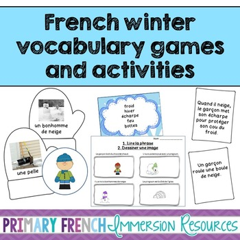 French Winter vocabulary and reading comprehension games -
