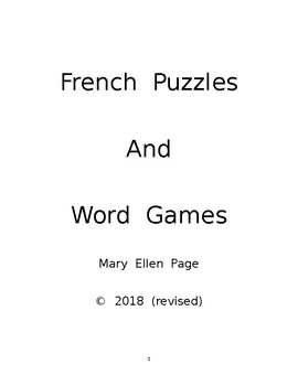 French Word Games and Puzzles