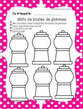French Word Work – DOTS Theme – Bubblegum Words