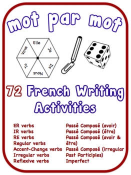 French Writing Activities.  12 Verb Topics.  72 Resources