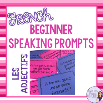 French speaking activity - adjectives speaking task cards