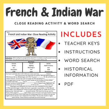 French and Indian War + Key Terms Word Search (Cloze Readi