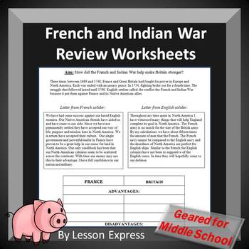 French and Indian War Review Worksheets, Document Analysis